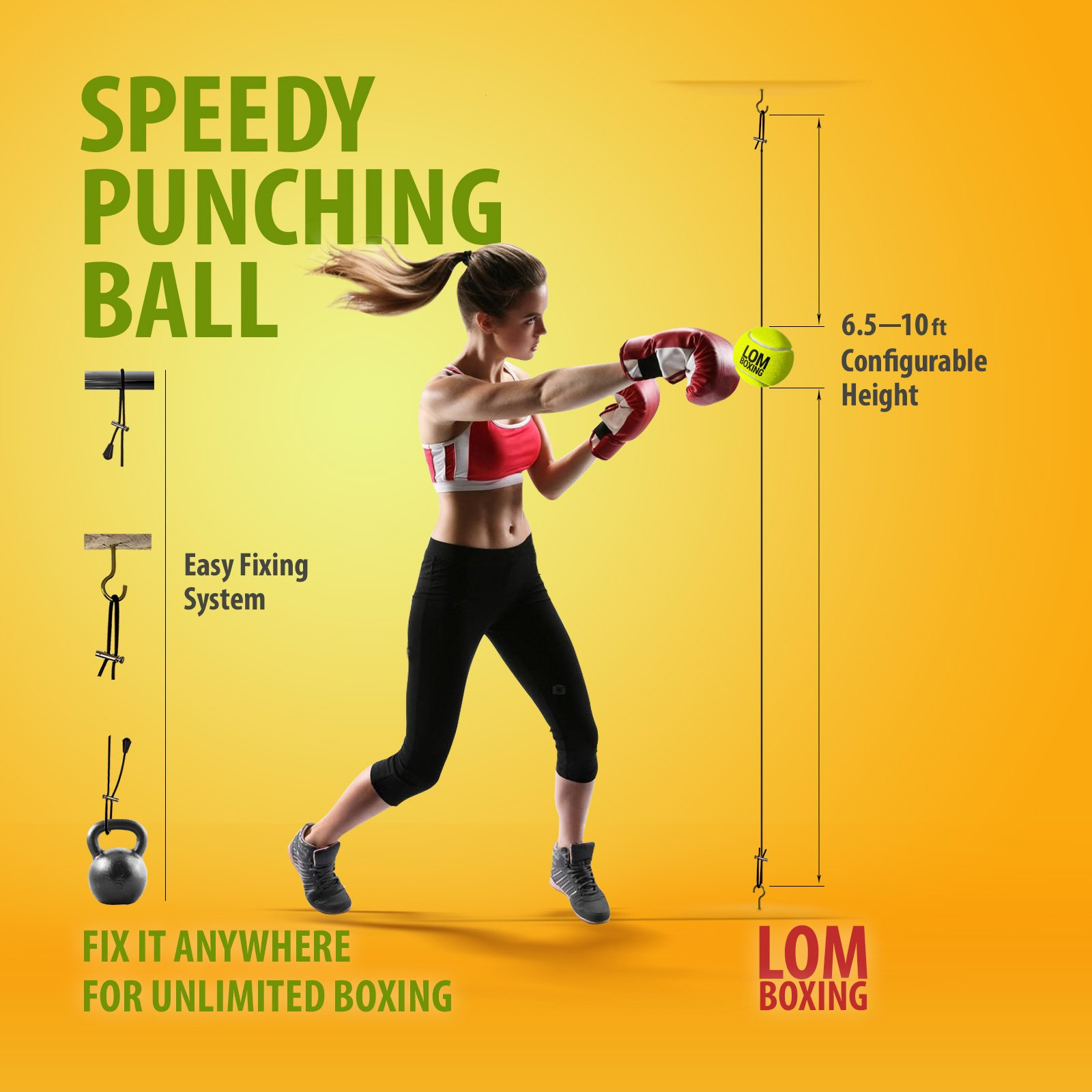 LOM Fight Ball Reflex, Boxing Ball, Double End Punching Ball, Boxing Equipment, Trainer for Workout and Fitness, Boxing Tennis Ball for speed punch, Speed Bag for All Ages