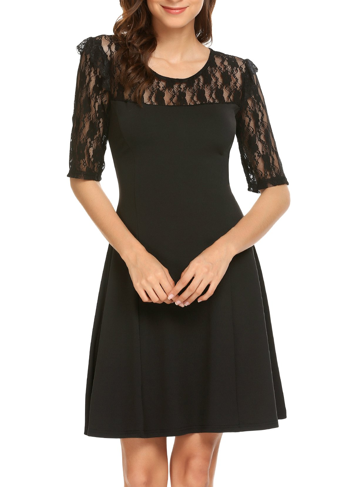 Showyoo Women's Elegant Floral Lace 3/4 Sleeve Cocktail Evening Party Dress, Black, XL