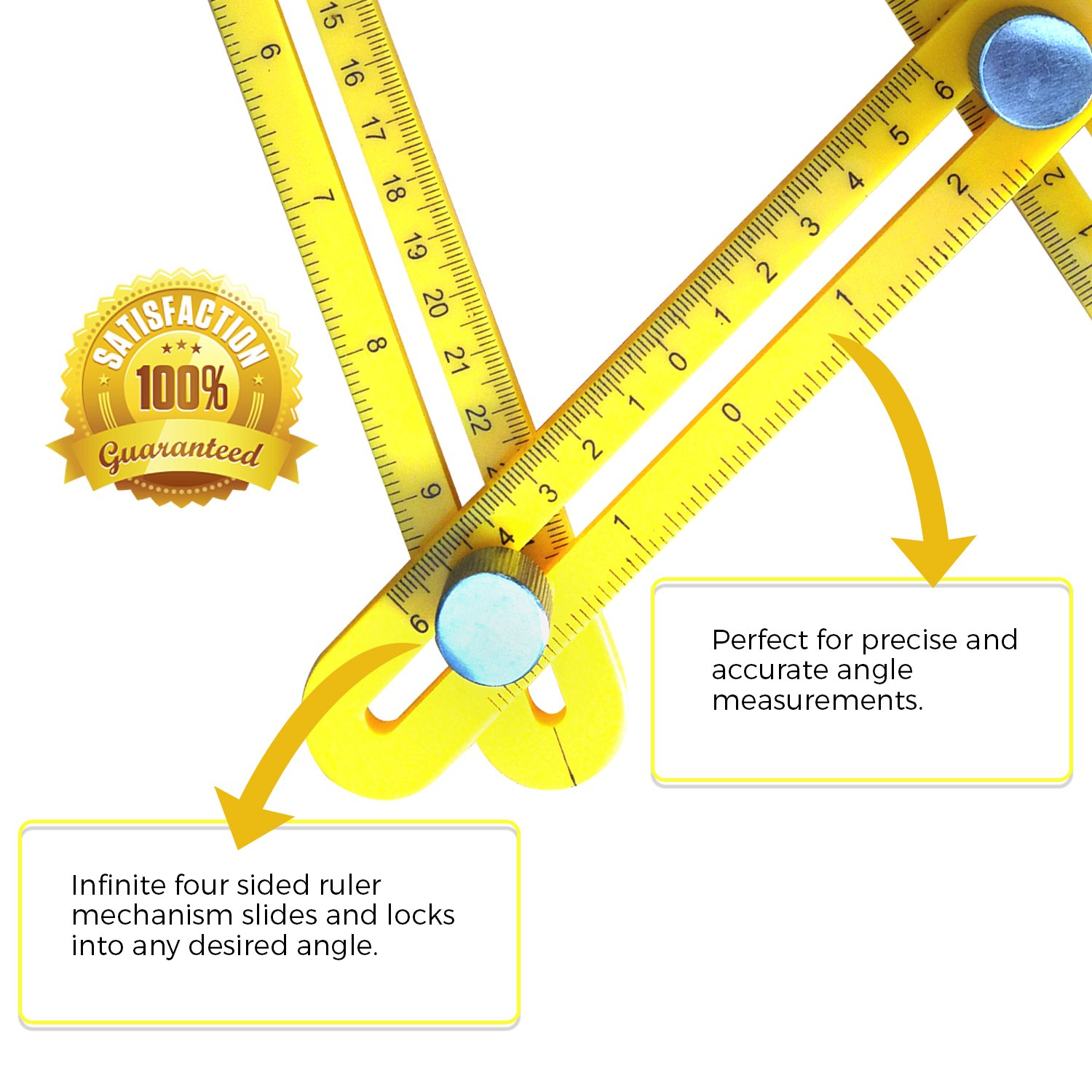 Multi Angle Measuring Ruler Best General Measurement Tool for Accurate Measurements Metal knobs for Durable Performance Preferred by Builders and Carpenters Hard Hat Tools ANGLE-1