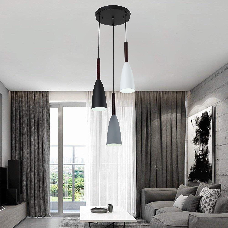 Moderna lampada a sospensione in legno a 3 luci Lampada da soffitto in metallo Lampada a sospensione Lampada a sospensione rotonda per tavolo da pranzo da cucina a isola