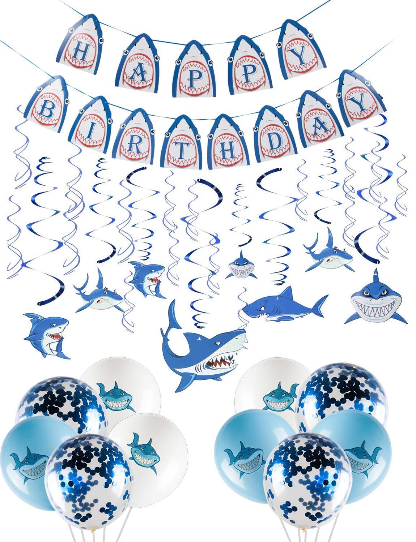 Thalia 30 Pcs Shark Hanging Swirls & 10 PCS Shark Balloons & 1 Shark Happy Birthday Banner Letters Shark Birthday Decorations - Party Supplies Summer Hanging Swirls