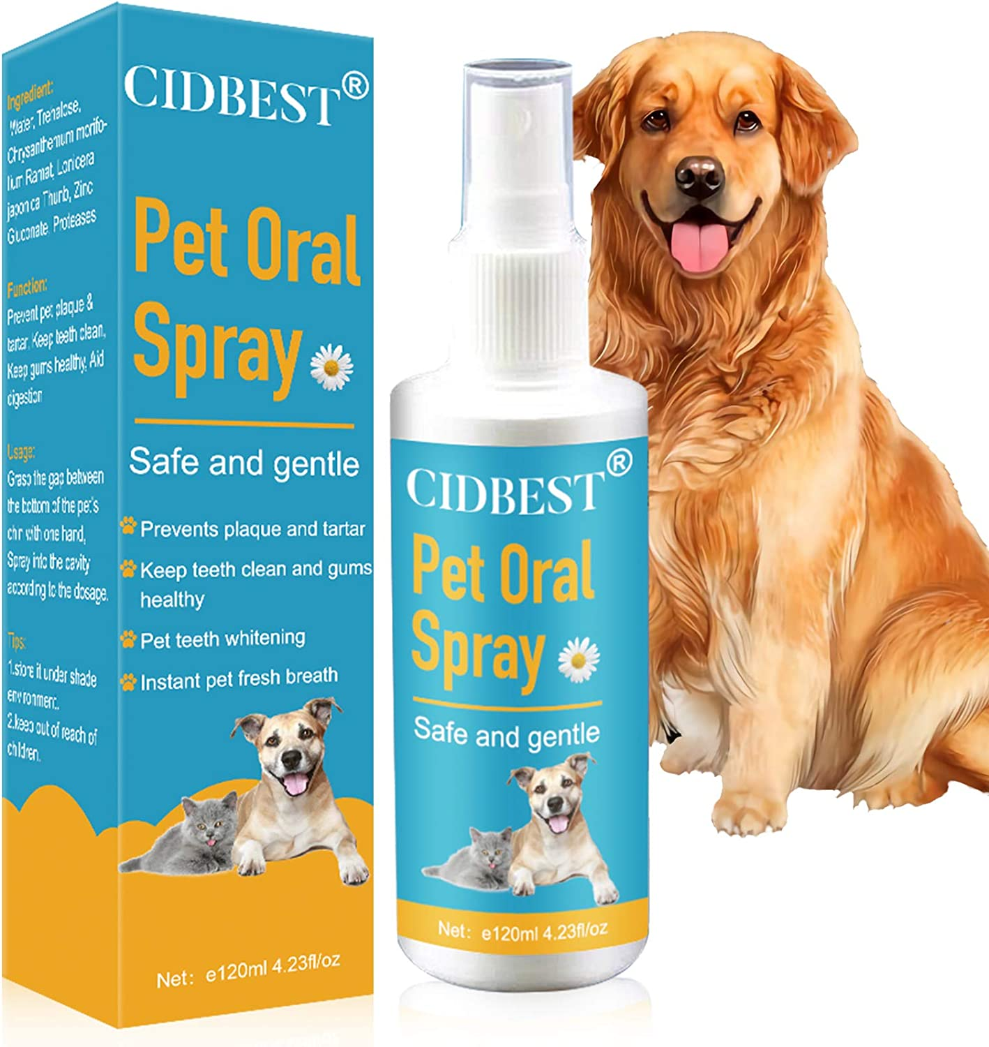 CIDBEST Dog Breath Freshener Spray, Pet Water Additive, Teeth & Gum Spray for Dogs &Cats, Dog Dental Care for Bad Pet Breath-Oral Mouth Care, No Brushing, Easy to Apply