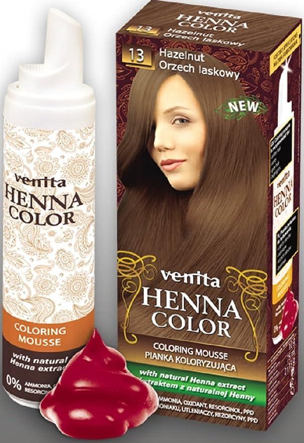 Venita Henna Color Mousse Espuma de Tinte para el Cabello con Extracto Natural de la Alheña. Paquete especial. Noisette (Hazelnut) № 13