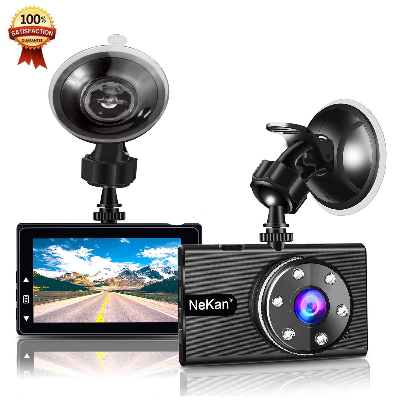 Dashcam, NeKan 1080P Autokamera, Auto DVR Dashboard Camera, 170° Weitwinkelobjektiv, 3 Zoll LCD-Bildschirm, WDR, Bewegungserkennung, Parkmonitor, Loop-Aufnahme, Nachtsicht und G-Senso