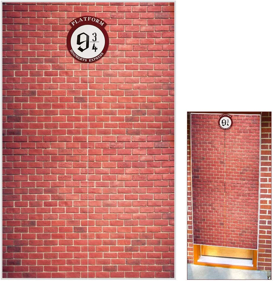 Platform 9 And 3/4 King's Cross Station, Door Curtains, Red Brick Wall Backdrop Vinyl 78.7
