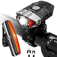 HODGSON Lampe Vélo LED, Kit Eclairage Phare Avant et Arrière Rechargeable Via USB, Lumière Puissante, Anti-éclaboussures Pour VTT Cyclisme