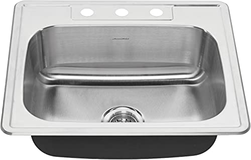American Standard 20SB.8252283S.075 Colony Top Mount 25×22 Single Bowl Stainless Steel 3-hole Kitchen Sink