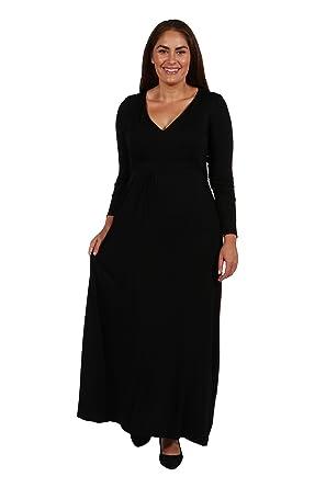 c53f0f6db3e 24seven Comfort Apparel Women s Plus Size Long Sleeve V Neck Tie Waist Maxi  Dress - Made