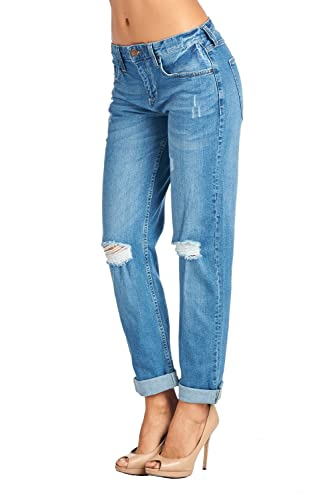 BLUE AGE Womens Junior Fit Trendy Destroyed Boyfriend Style Jeans