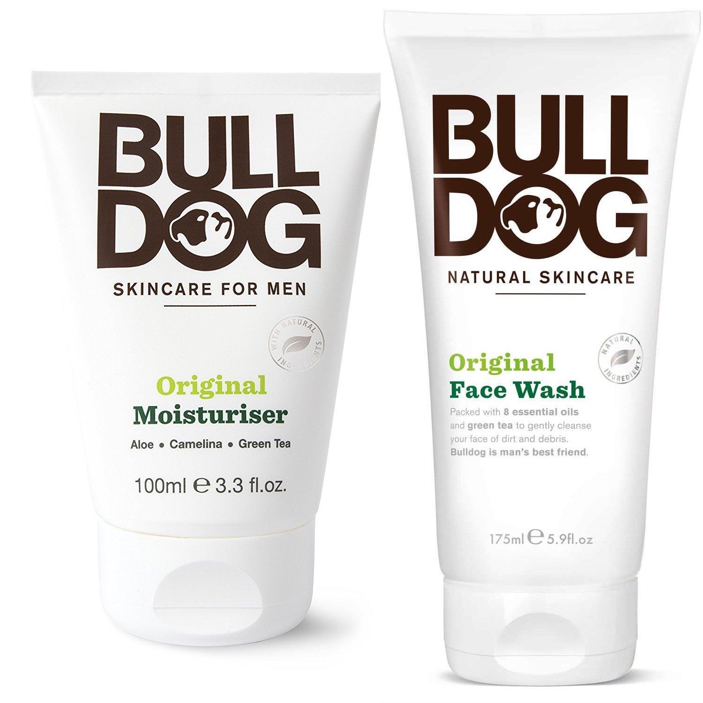 Bulldog Skincare Original Moisturizer and Face Wash For Men With Green Tea, Green Algae, Konjac Mannan, Vitamin E, Bergamot Peel and Lemon Peel, 3.3 and 5.9 fl. oz.