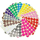 LJY 32mm Round Dot Stickers Color Coding Labels, 12 Different Assorted Colors Dot Labels, 24 Sheets