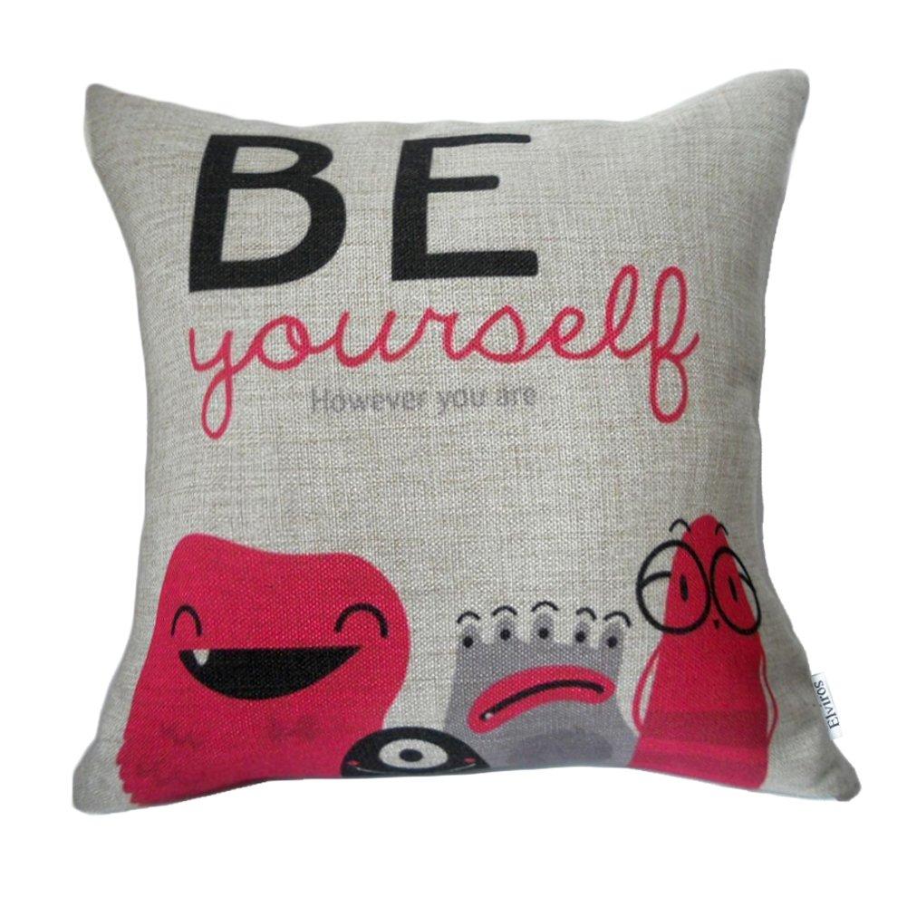 Elviros Decorative cotton linen, mix cushion cover, 45cm x 45cm