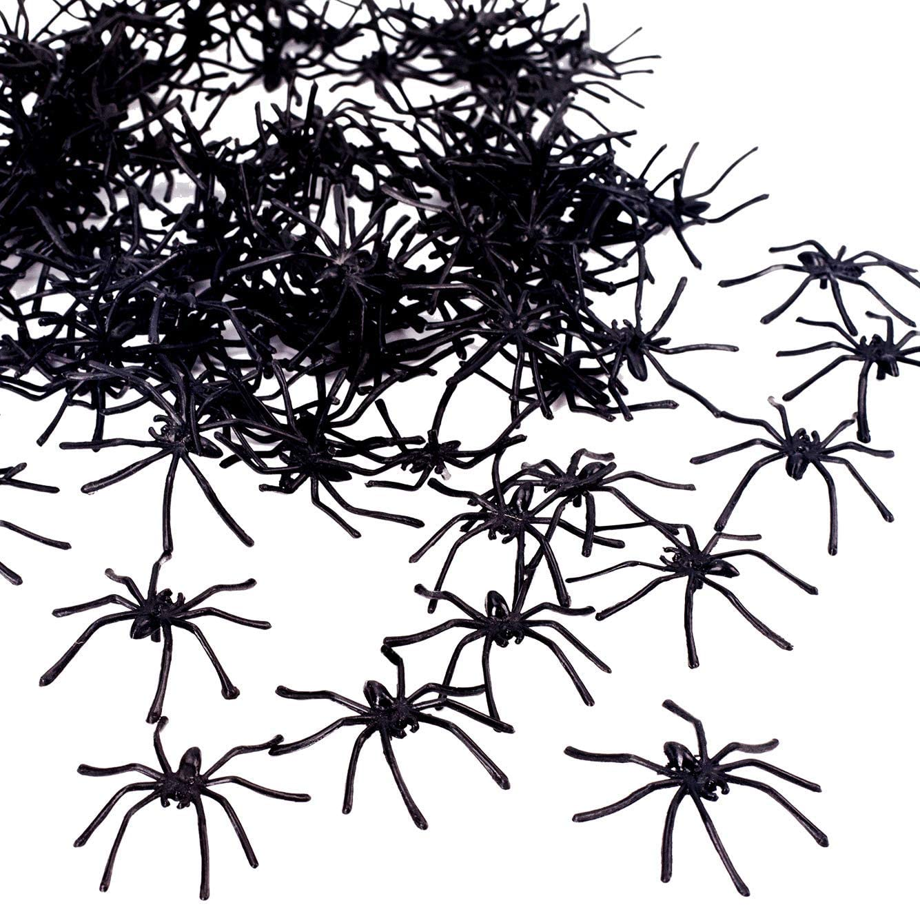 200 Scary Prank Spiders Party Favours etc Perfect for Halloween Party Props Spooky Plastic Fake Decorations Pack Themed Party Supplies
