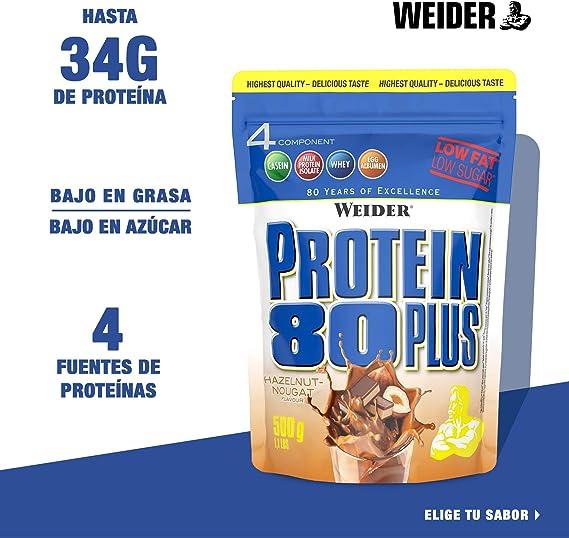 Weider Protein 80 Plus, Proteina de suero de suero de leche, Sabor Brownie Doble chocolate , 500 gr