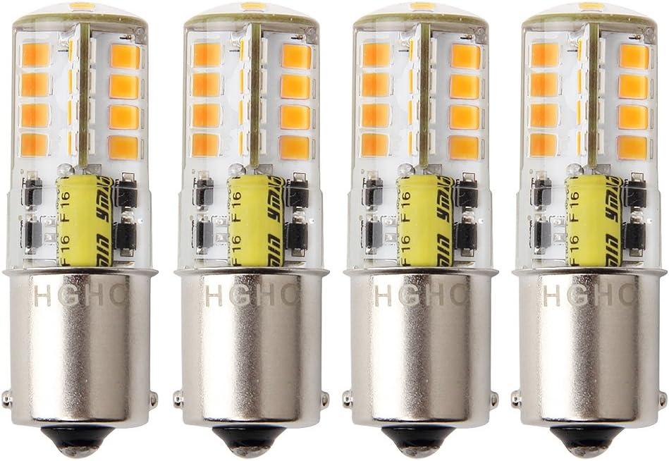 HRYSPN 1156 Ba15s P21 led Bombilla 12V 5W, cálido blanco 3000k, para barco, RV, automóvil, Iluminación del paisaje, 4unidades.