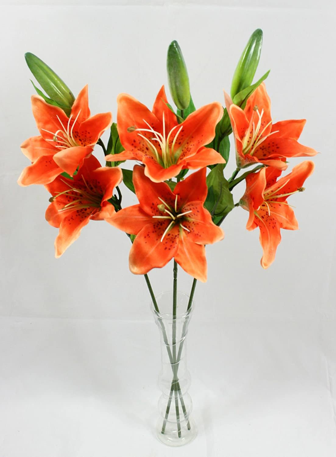 Artificial Lily Spray 3 Orange Stem Realistic Looking Flowers