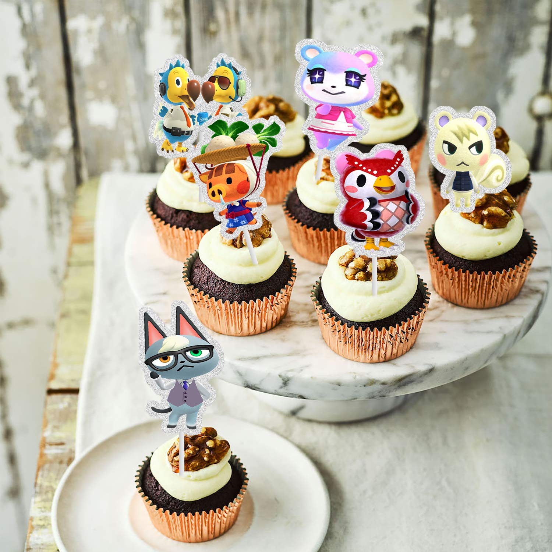 Glitter Animals Crossing Cupcake Topper Cartoon Animals Cake Decoration 24 pcs Video Gaming Figures Happy Birthday Cake Decor Kids Birthday Party Favors