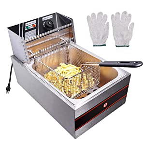 Yescom 2500W 6L Commercial Electric Countertop Stainless Steel Deep Fryer Basket French Fry Restaurant Home Kitchen