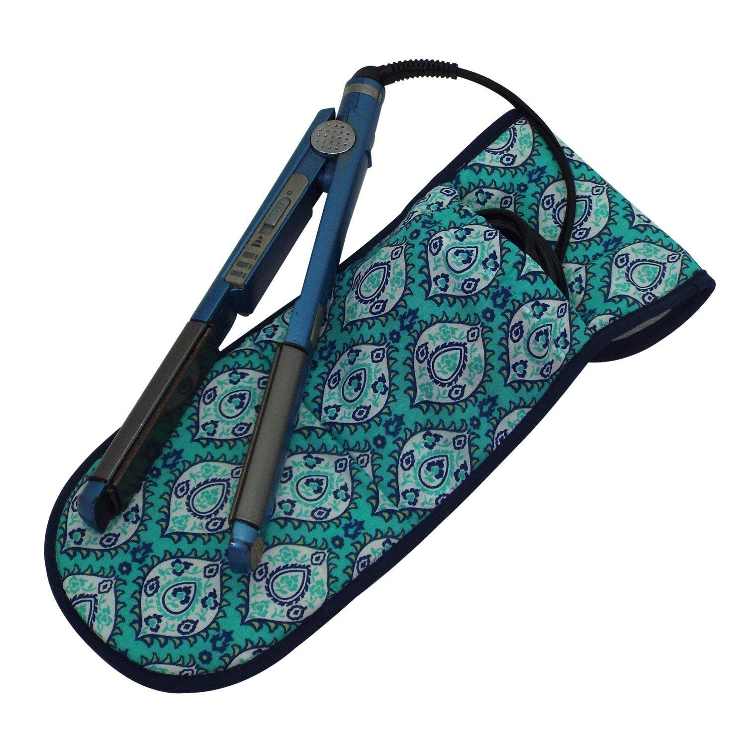 Blue and Silver Ikat Chevron with Black Piping Black Heat-resistant Flat Iron Cover