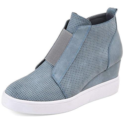 Zapatillas Deportivas de Mujer Sneakers Cuña Botines Casual Zapatos para Dama Plataforma Piel Tacon Medio Ancho Ankle Boots Negro Azul Rosa Marrone Grigio: ...