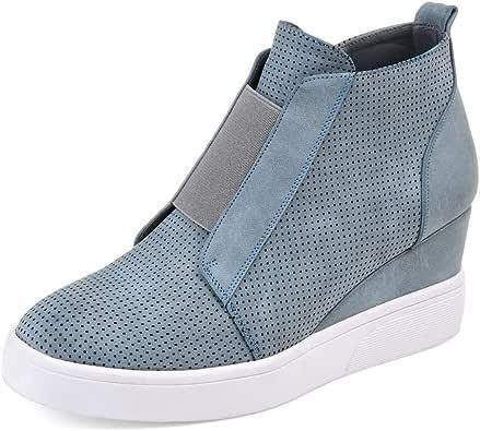 FIRENGOLI Zapatillas De Deporte De Cuña para Mujer con Plataforma Alta Plataforma con Cremallera Zapatillas: Amazon.es: Zapatos y complementos