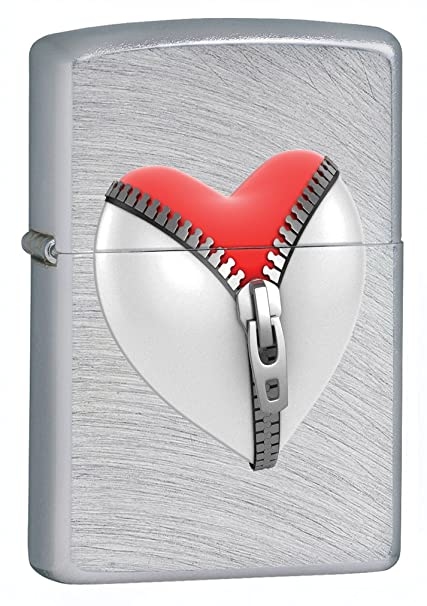 Zippo Chrome Arch Zip Heart Lighter