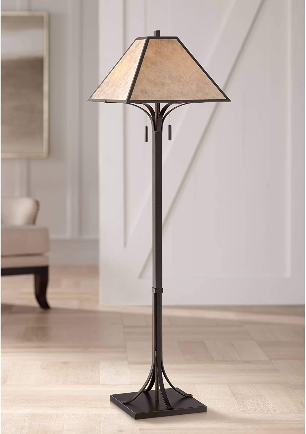 Duarte Mission Rustic Farmhouse Style Standing Floor Lamp Oil Rubbed Bronze Metal Tapering Square Light Mica Shade Decor for Living Room Reading House Bedroom Home Office - Franklin Iron Works