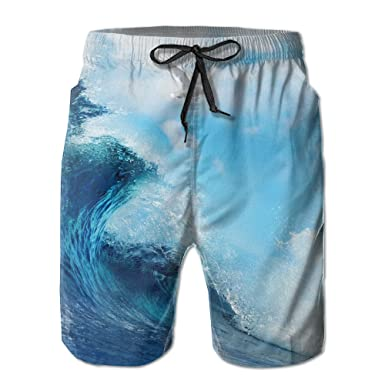 3cfca20940 Sea Wave High Waisted Comfortable 100% Polyester Quick-drying For Men Beach  Shorts Beach