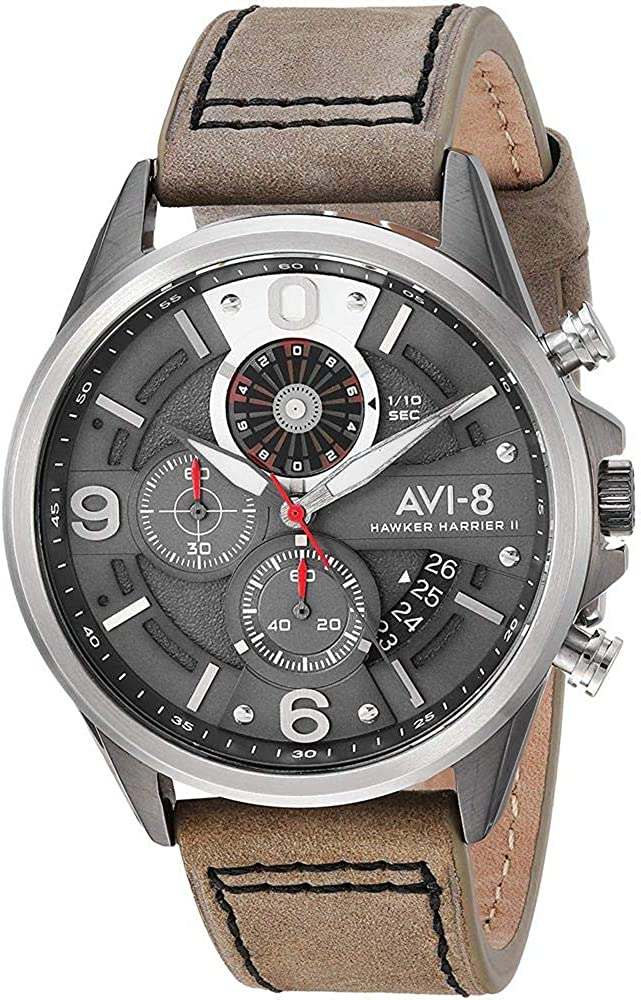 AVI-8 Men s AV-4051 Hawker Harrier II Quartz Stainless Steel and Leather Aviator Watch