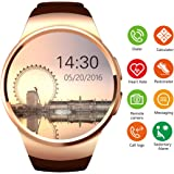 Bluetooth Smartwatch Phone with SIM Card Slot,1.3 inch Round Large Touch Screen Smart Fitness Watch with Heart Rate Monitor Pedometer for iPhone Android Cellphone (Golden)
