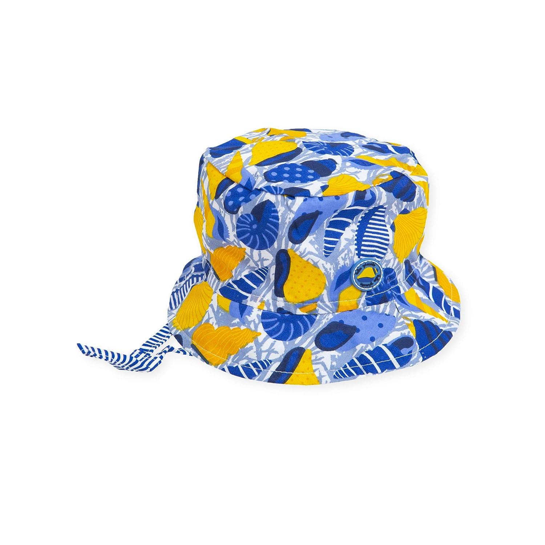 Tutto Piccolo 6974S19 Gorro para Beb/é Verano Algod/ón Estampado de Conchas Marinas Color Azul y Amarillo