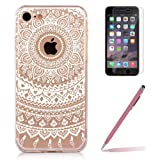 iPhone 6 Plus Case iPhone 6s Plus Gel Silicone Case [with Tempered Glass Screen Protector], Yoowei® Crystal Clear Tribal Henna Mandala Floral Flowers Totem Series Protective Case Cover for iPhone 6 Plus/6s Plus 5.5""
