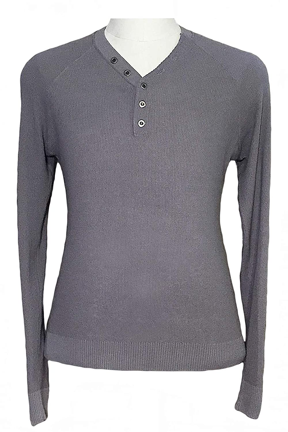 REVOLUTION NOW Mens Thermal Y Neck Henley Pullover Sweater