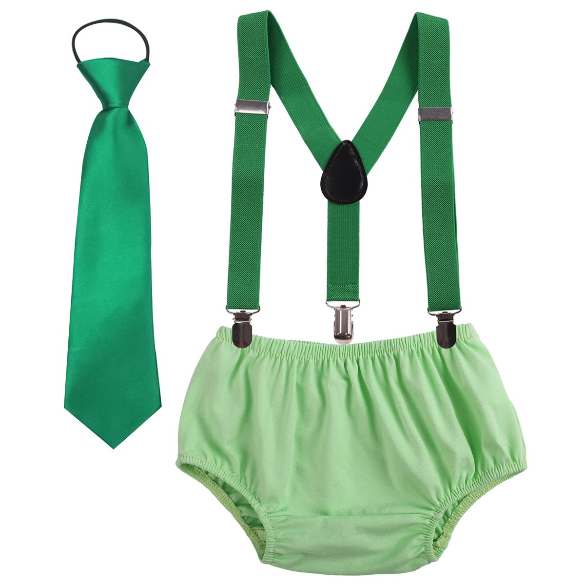 Cake Smash Outfit Baby Boys Toddler First Birthday Adjustable Y Back Clip Suspenders Bloomers Necktie Bowtie set