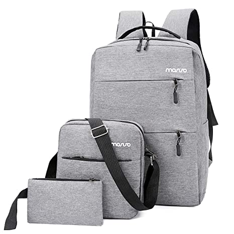 cf3c84796493 MOSISO Laptop Backpack Set 3 Pieces Up to 15.6 Inch, Water Repellent  Polyester Business Travel College School Bookbag Daypack with USB Charging  Port ...