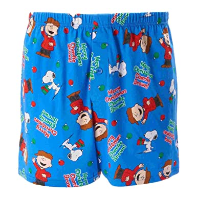 decc424f4bbf Peanuts Mens Blue Holiday Boxers Merry Christmas Charlie Brown Boxer Shorts
