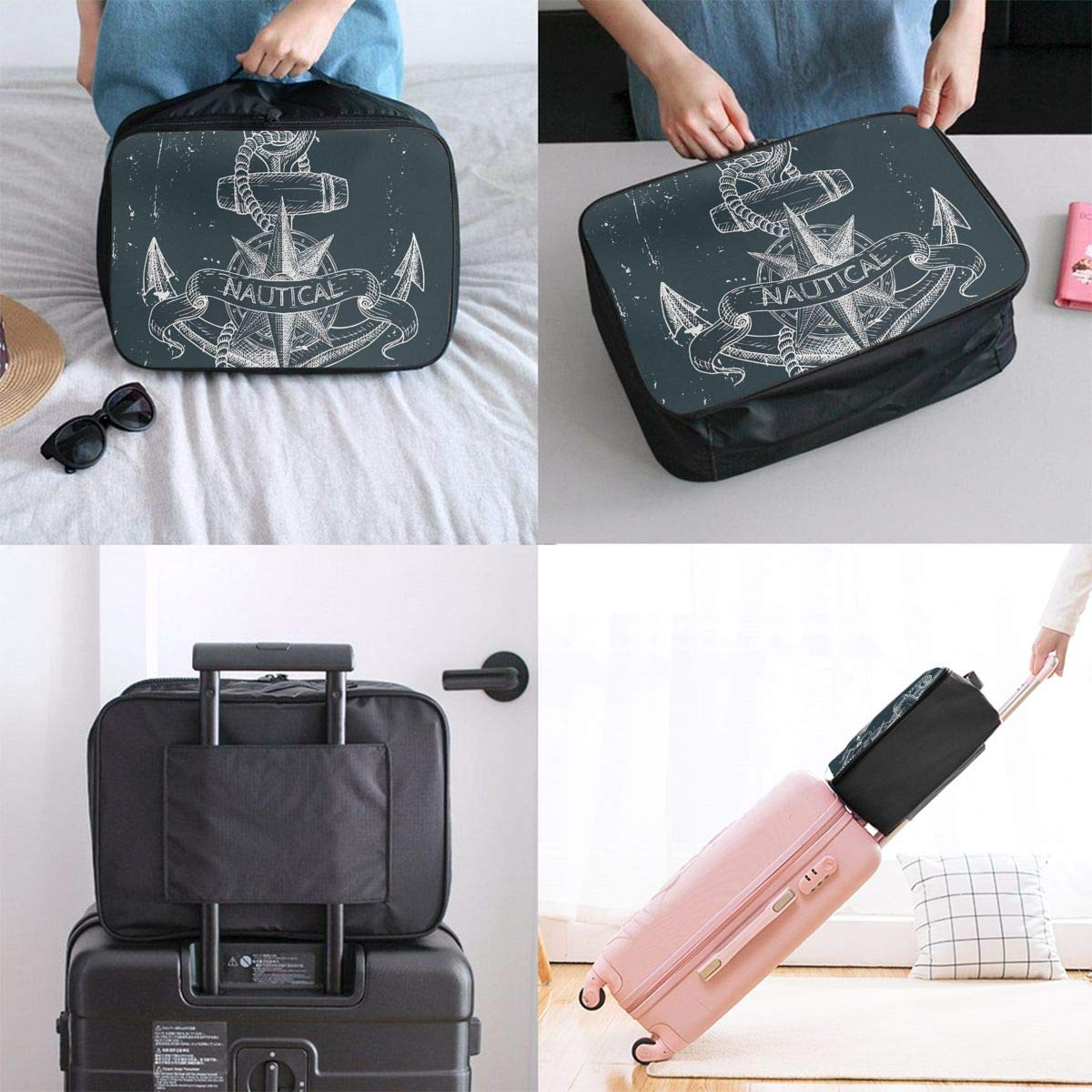 Nautical Knot Compass Anchor Ocean Life Grunge Illustration Travel Lightweight Waterproof Foldable Storage Portable Luggage Duffle Tote Bag Large Capacity In Trolley Handle Bags 6x11x15 Inch