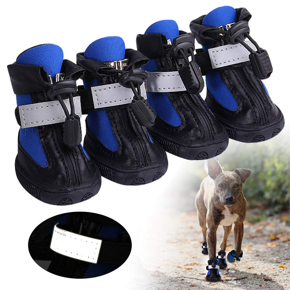 Hoxekle 4PCS Winter Shoes for Dog Pitbull Waterproof Dog Boots Pet Shoes Nonslip Big Dog Rain Snow Booties Outdoor Paw Protector