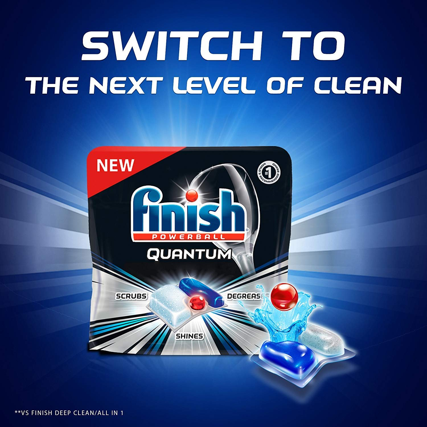 Finish Quantum Dishwasher Detergent Tabs, Ultimate Clean & Shine, 82 Count