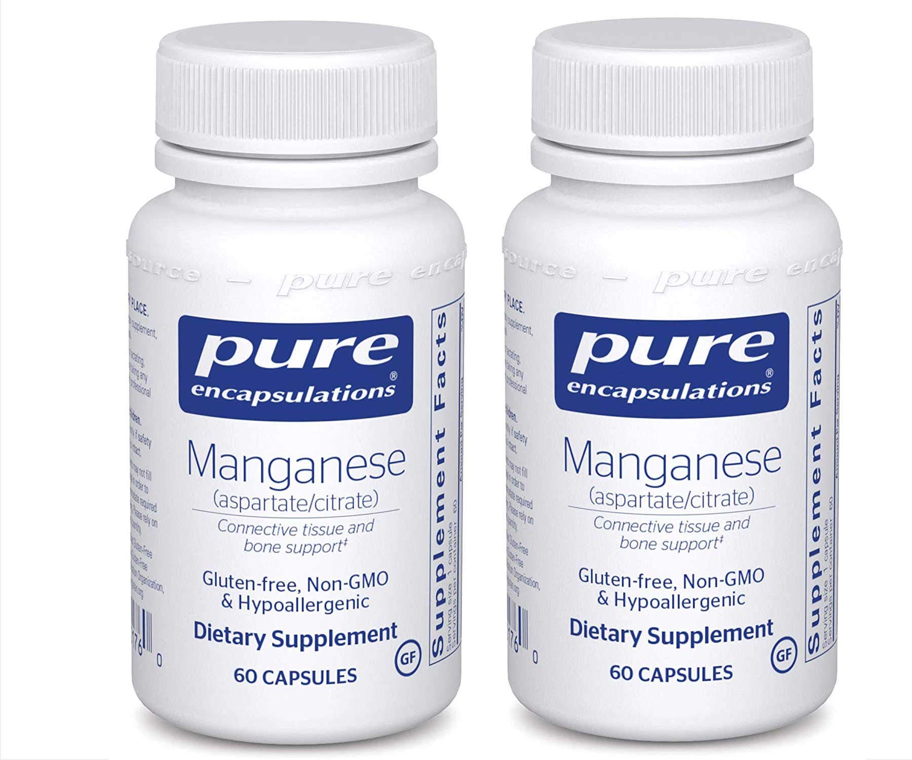 Pure Encapsulations Manganese Aspartate/Citrate Gluten Free Non GMO and Hypoallergenic Dietary Supplement 8 Milligrams 60 Capsules (Pack of 2)