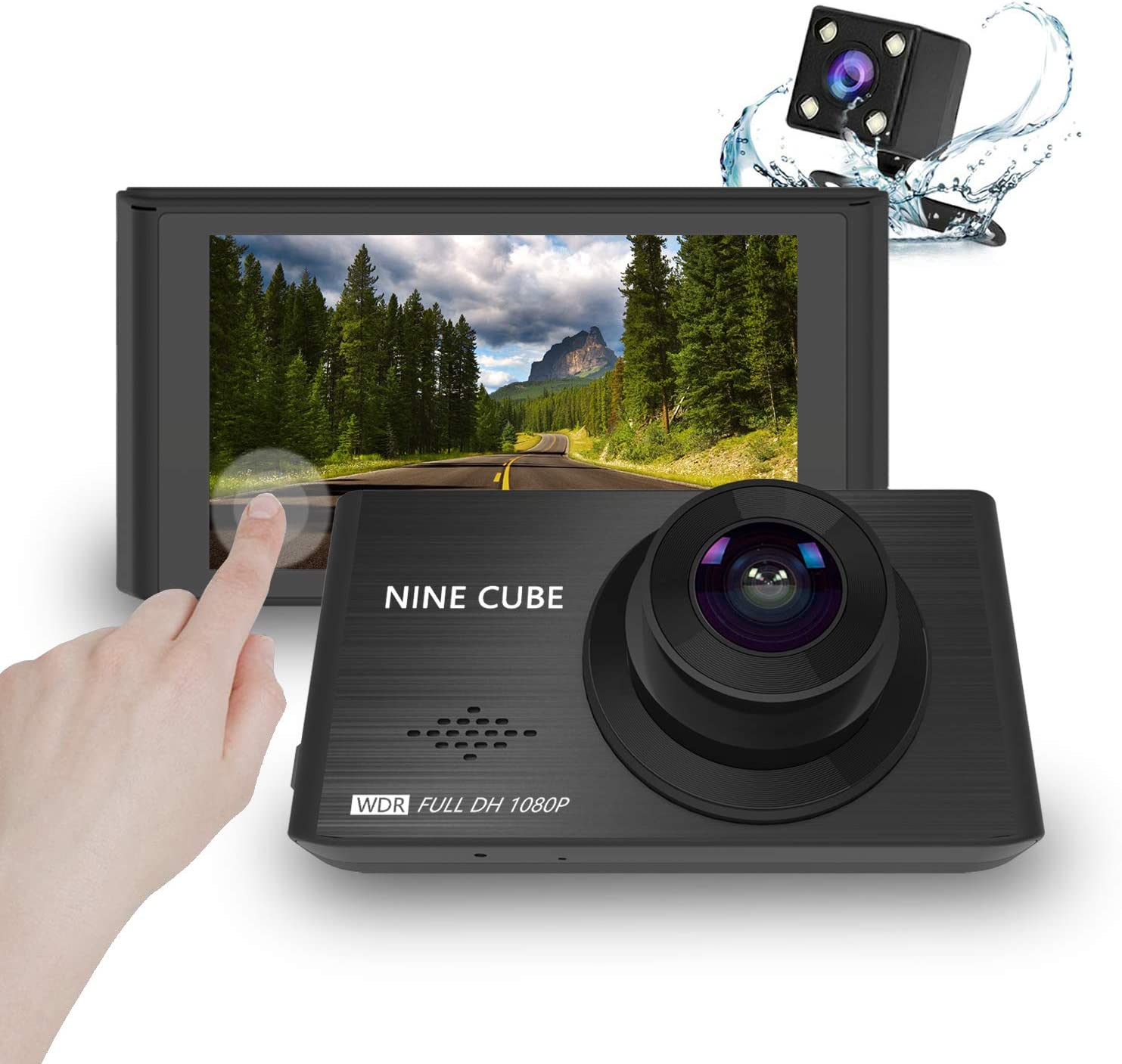 """NINE CUBE Dash Cam Front and Rear 1080P Dual Car Dash Camera 3"""" IPS Touch Screen Dashboard Recorder,170° Wide Angle, G-Sensor, WDR, Parking Monitor, Loop Recording, Motion Detection"""