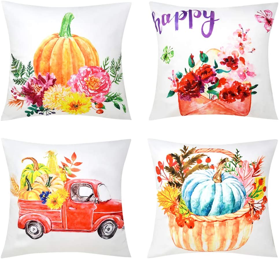 Bublanwo Autumn Thanksgiving Pillow Covers Fall Pumpkin Flower Decor Pillows Decorative Harvest Throw Pillowcases Outdoor Velvet Couch Cushion Covers Car Envelope for Patio Home Sofa Bed Set of 4
