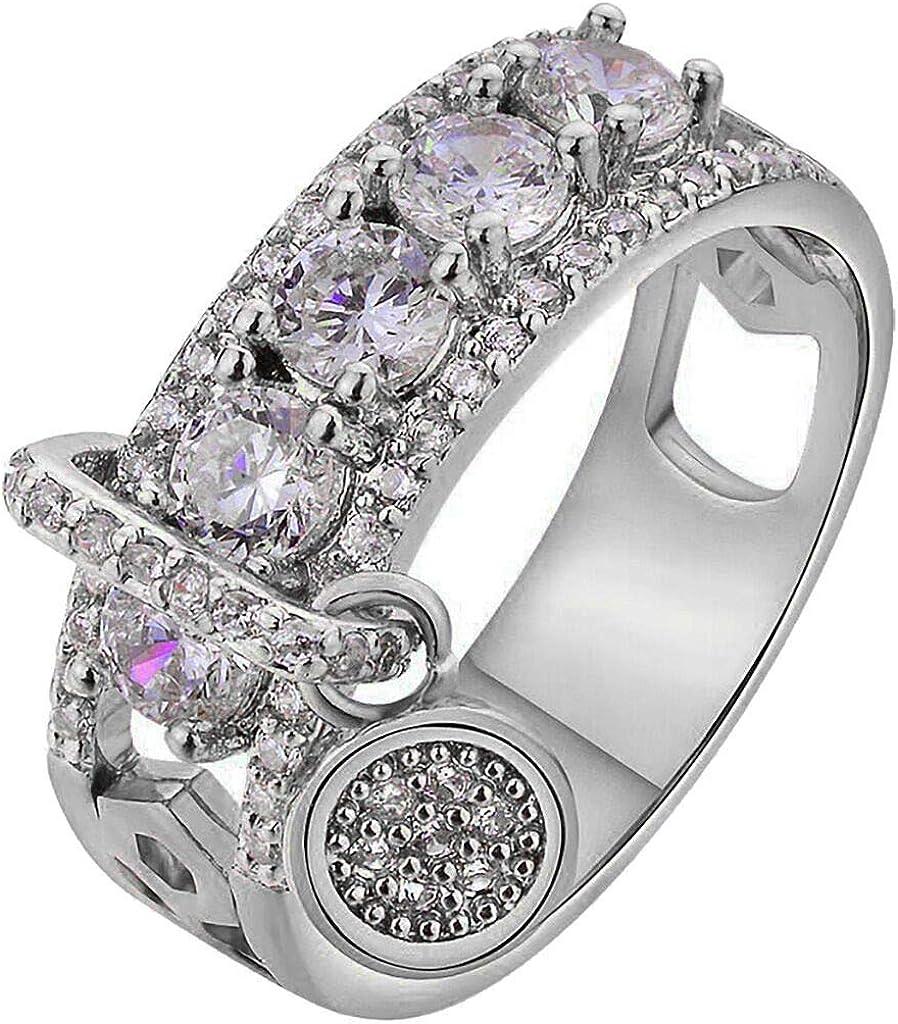 FEDULK Womens Luxury Rings Jewelry Rhinestone Engagement Wedding Bridal Promise Anniversary Ring