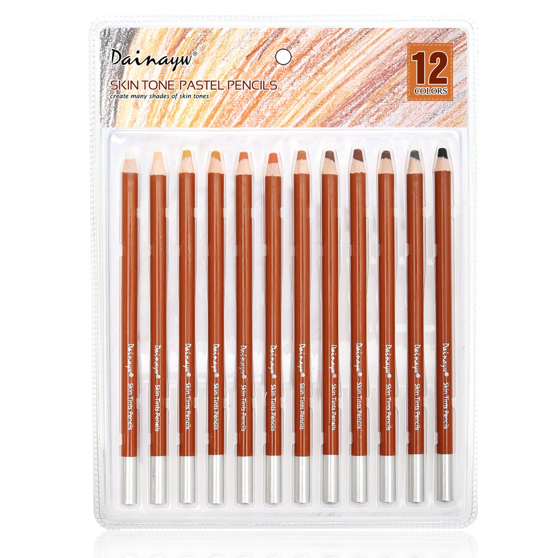 Dainayw Soft Skin Tone Pastel Pencils,5mm Core,12 Piece Premier Colored Pencils For Artist Drawing,Sketching - Portrait Set