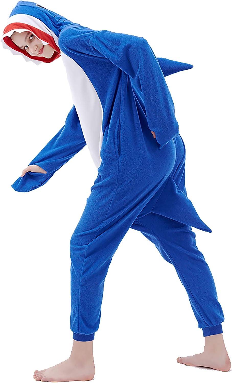 Shark Onesie Cosplay Costumes Animal Pajamas One Piece Halloween Sleepwear