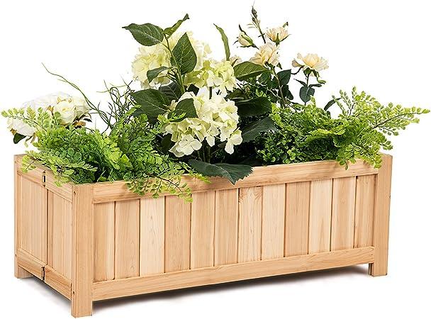 Amazon Com Giantex Raised Flower Planter Box Portable Folding
