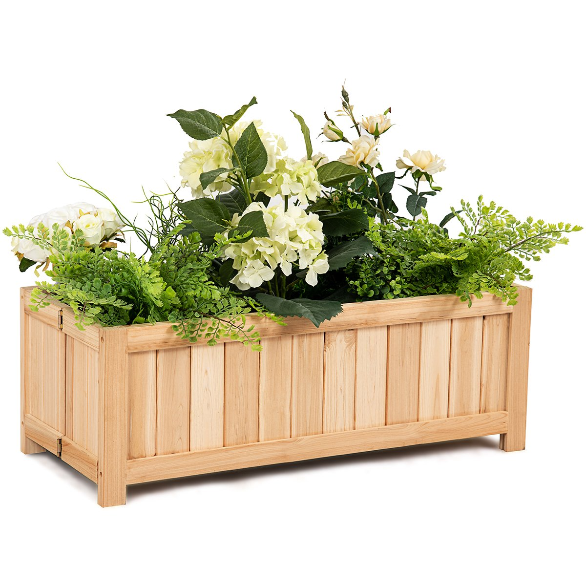 Giantex Raised Flower Planter Box Portable Folding Vegetable Patio Lawn Garden Backyard Elevated Outdoor Wood Planter Boxes, 27.5'' Lx12 Wx10 H(Natural Rectangle)