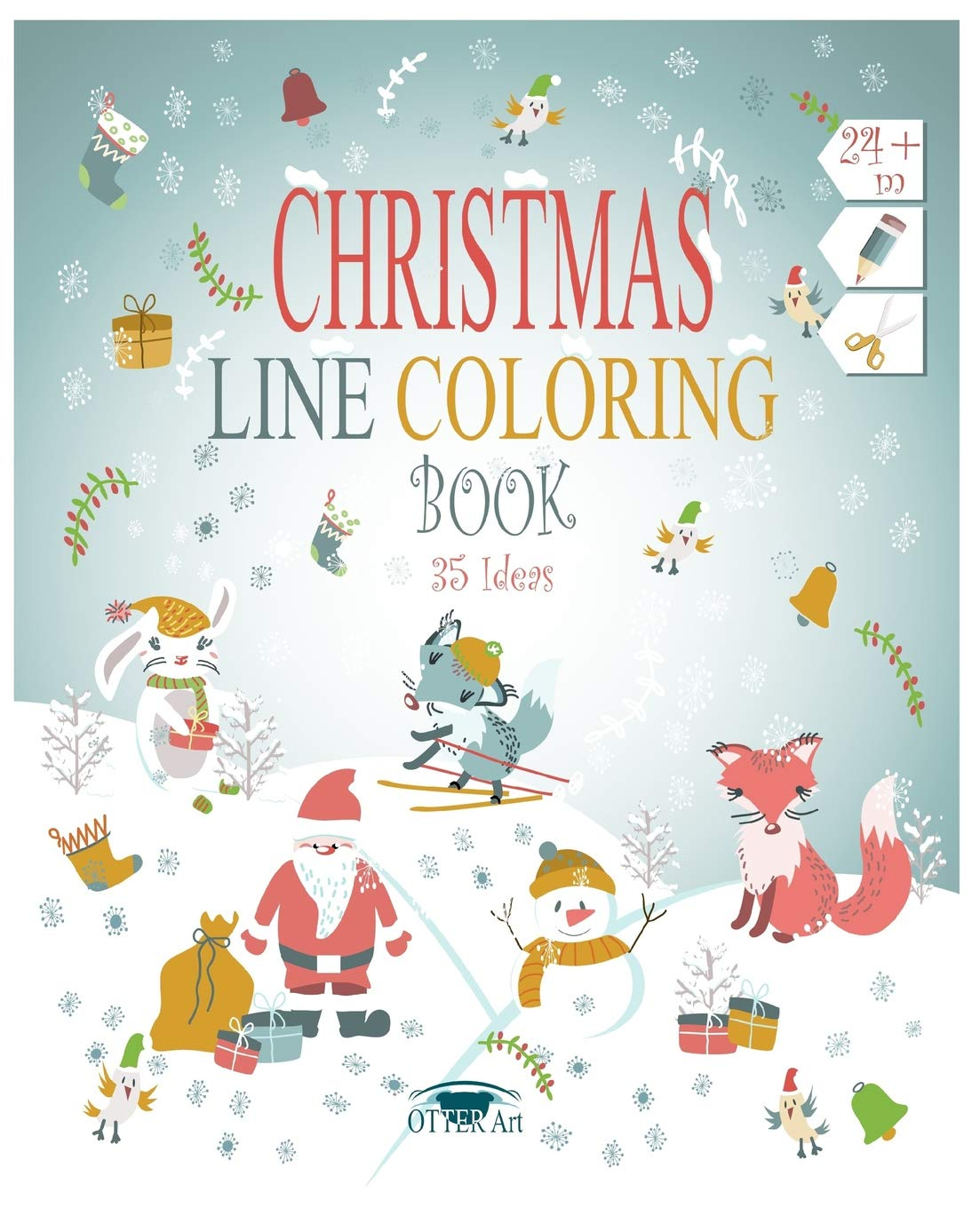 Christmas Line Coloring Book 35 Ideas Christmas elements in