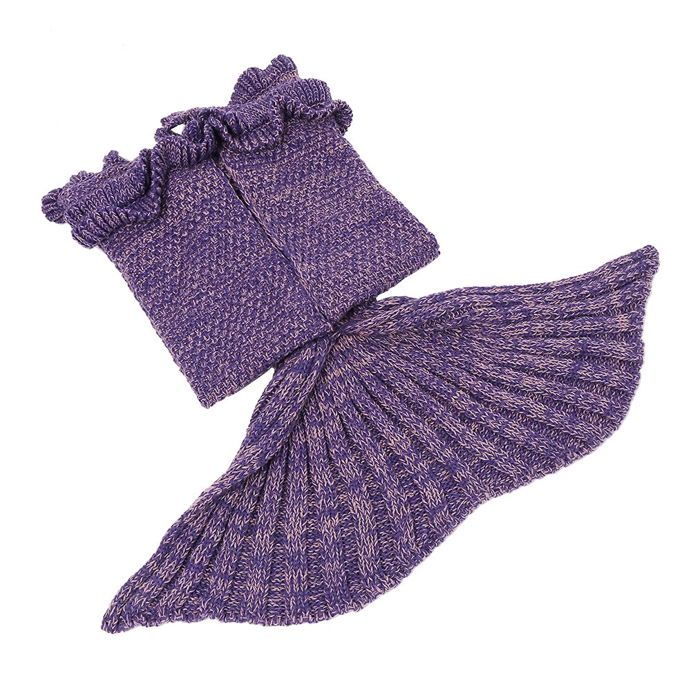 AmyHomie Mermaid Tail Blanket, Crochet Knitting Mermaid Blanket, Mermaid Tail Blanket for Kids All Seasons Sleeping Blankets for Girls (55x28in Purple) by AmyHomie (Image #2)