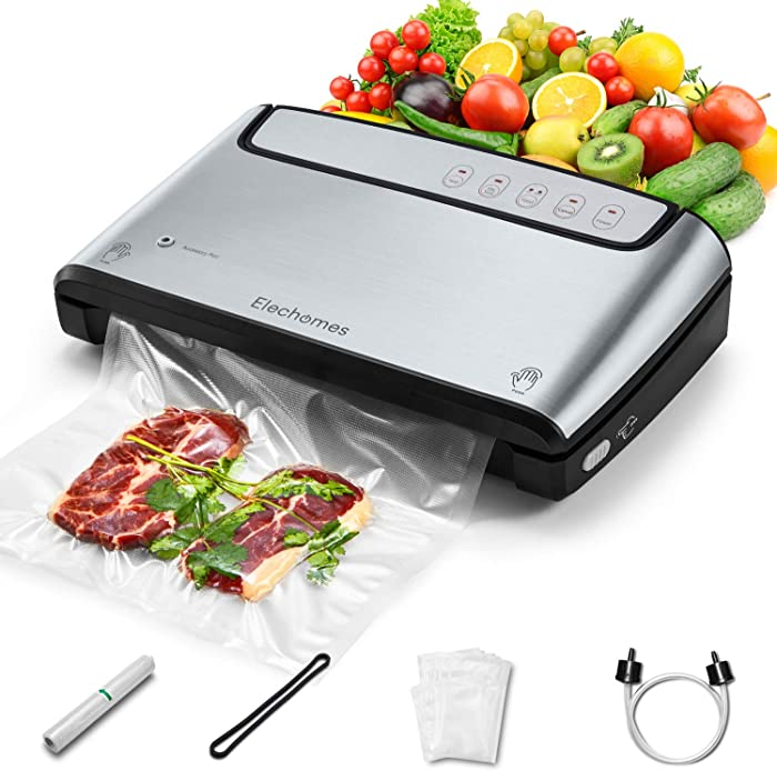 Elechomes Vacuum Sealer, Built-in Bag Storage and Cutter, 85KPA Powerful Suction Food Saver Machine, Dry and Moist Food Preservation with Bags and Roll Starter Kit, Sous Vide Cooking, Easy to Clean, Brushed Stainless Steel